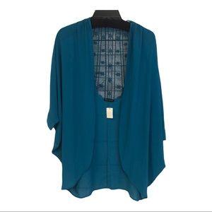Jella couture teal lace back kimono cover-up